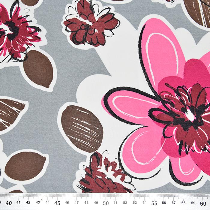 Jersey, viskoza, filamentna, cvetlični, 22686-120, sivo-roza