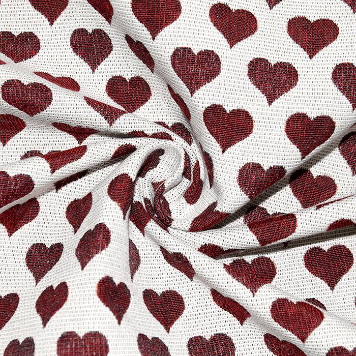 Deko žakard, obojestranski, srčki, 22820-25, rdeča
