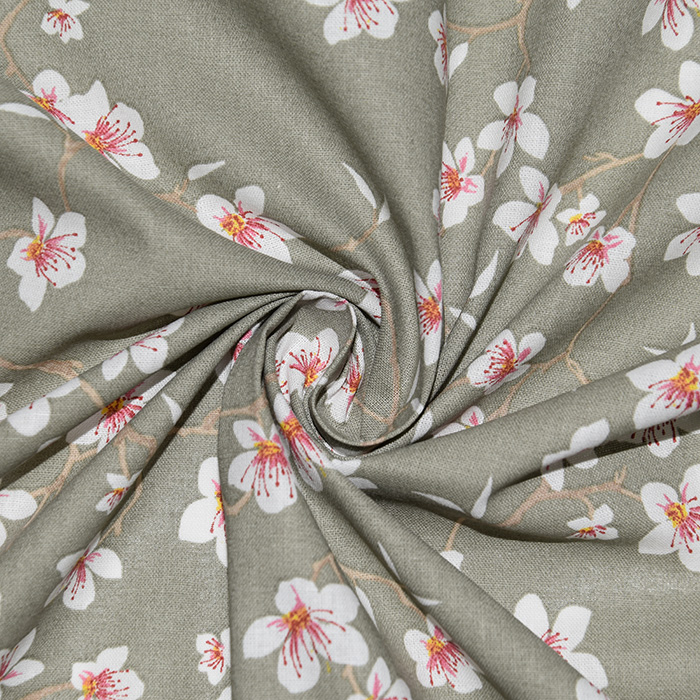 Pamuk, popelin, cvjetni, 22618-3, zelenosiva