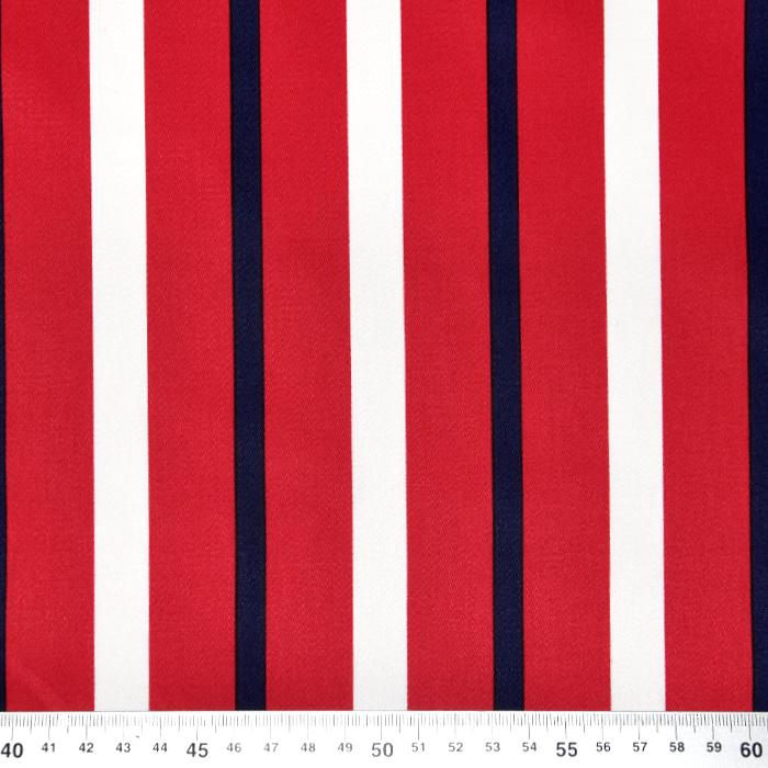 Saten, bombaž, črte, 22521-1, rdeča