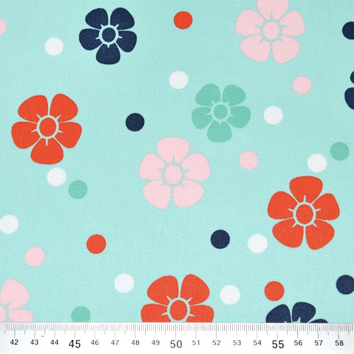 Saten, bombaž, cvetlični, 22521-4, mint