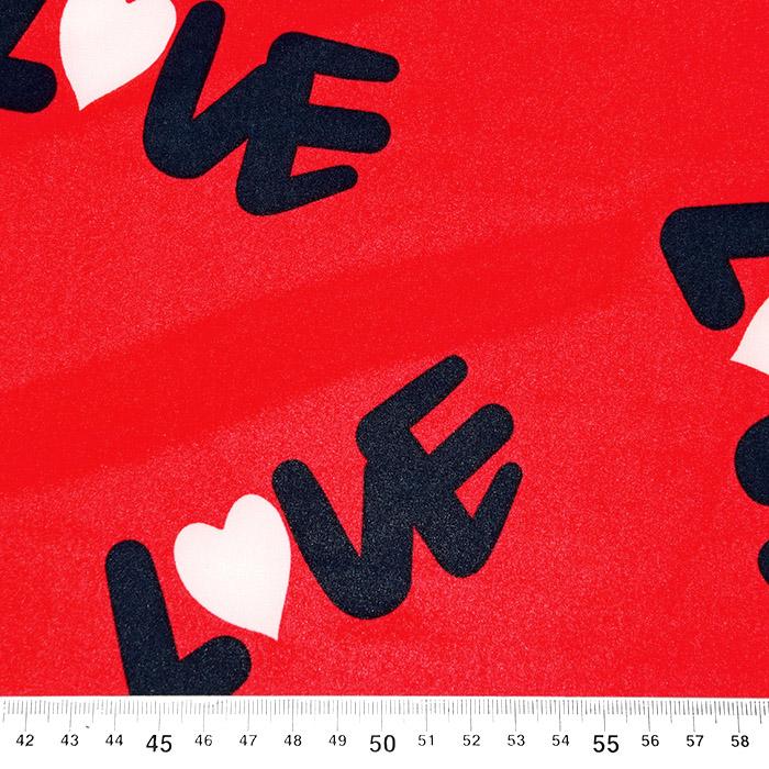 Tkanina, tanjša, srčki, 22521-33, rdeča