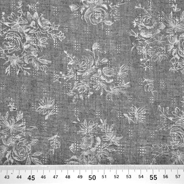 Tkanina, tanjša, cvetlični, 22521-44, črna