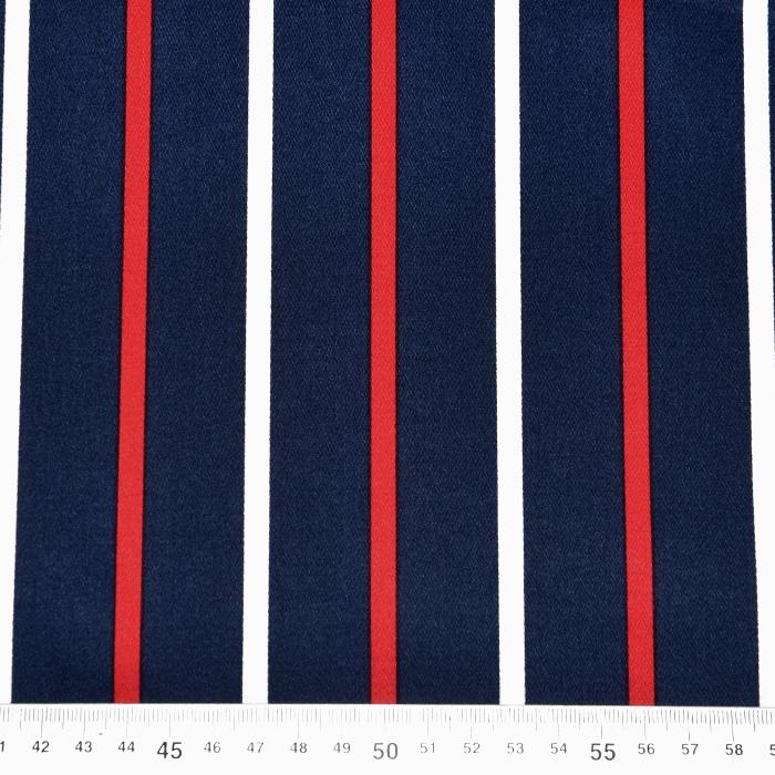 Saten, bombaž, črte, 22521-49, temno modra