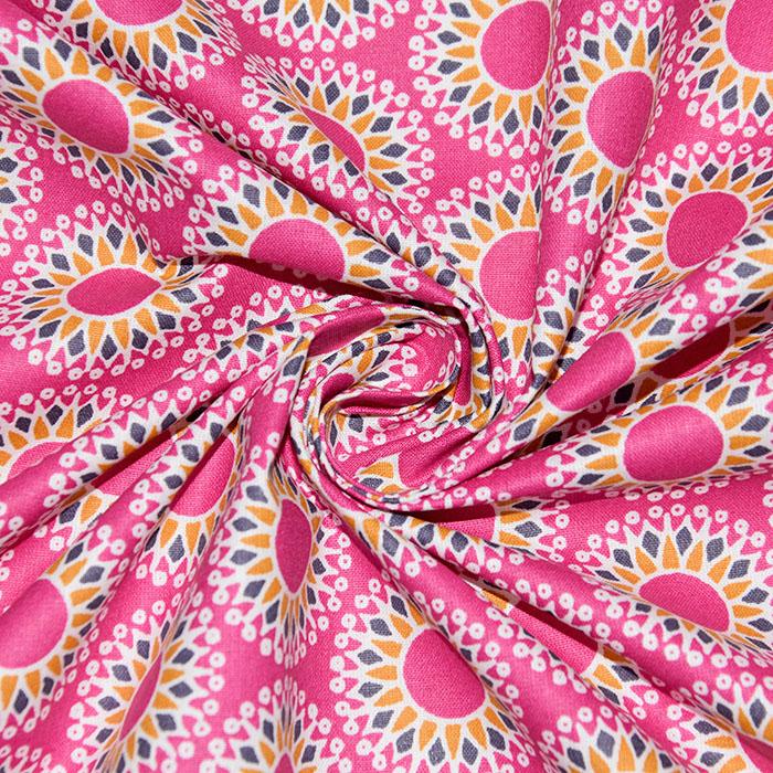 Bombaž, poplin, geometrijski, 19474-4, roza