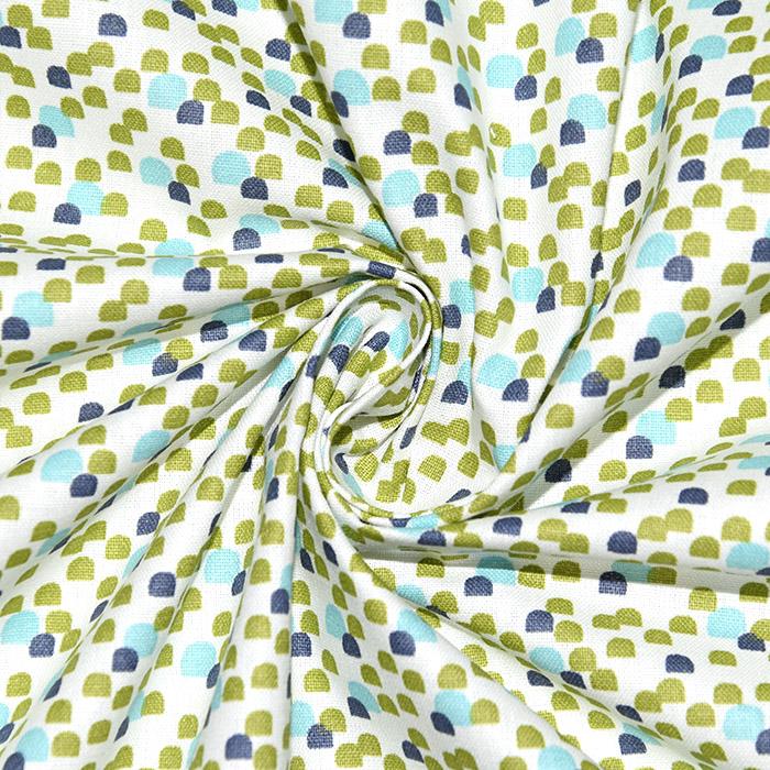Bombaž, poplin, geometrijski, 22991, zeleno-modra