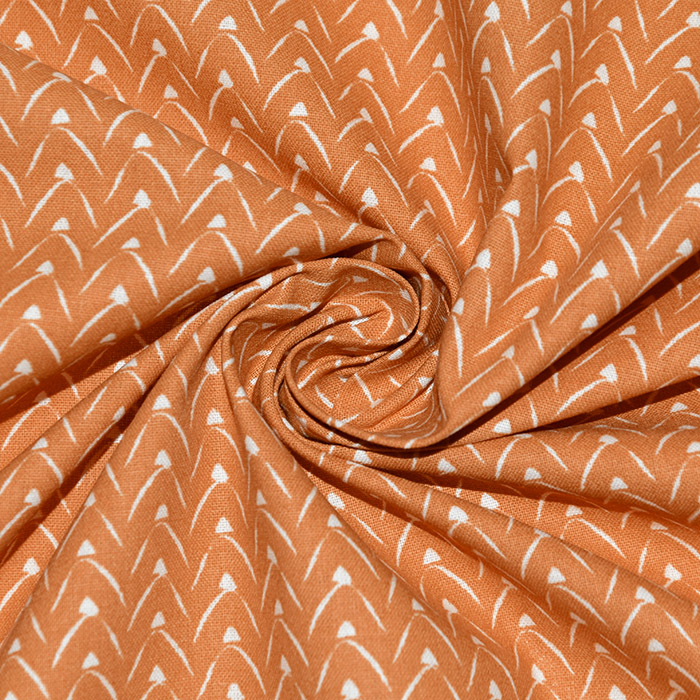 Bombaž, poplin, geometrijski, 22998-3, oranžna