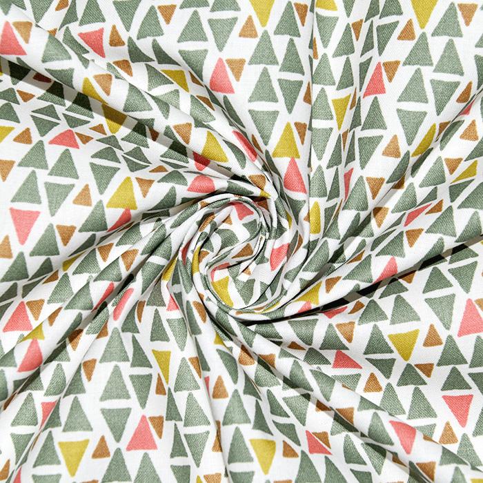 Bombaž, poplin, geometrijski, 23001-2, zelena