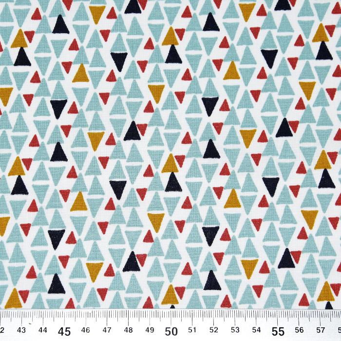 Bombaž, poplin, geometrijski, 23001-1, modra
