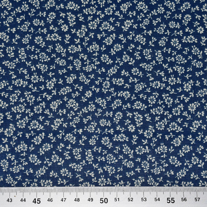 Bombaž, poplin, cvetlični, 23079-3, temno modra