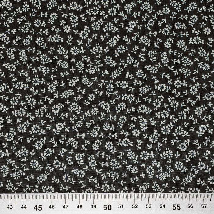 Bombaž, poplin, cvetlični, 23079-4, črna