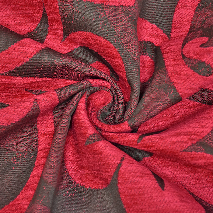 Deko žakard, obojestranski, cvetlični, 23104-305, rdeča