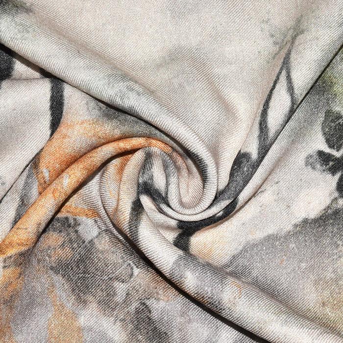 Tkanina, viskoza, cvetlični, 23213-5, oranžna