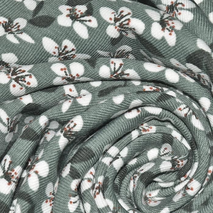 Jersey, bombaž, cvetlični, 23239-123, mint