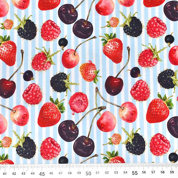 Jersey, bombaž, sadje, 23262-09, modra
