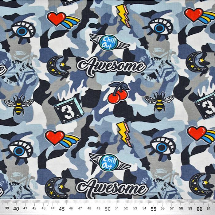 Jersey, bombaž, digital, kamuflažni, 23263-09, modra