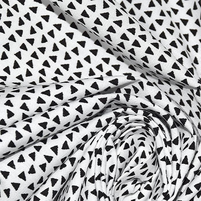 Bombaž, poplin, geometrijski, 23288-02, črna