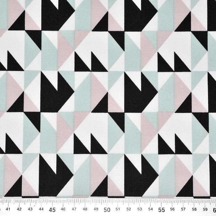 Bombaž, poplin, geometrijski, 23294-10, svetlo modra