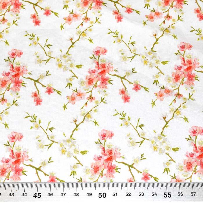 Bombaž, poplin, digitalni tisk, cvetlični, 23313-02, bela
