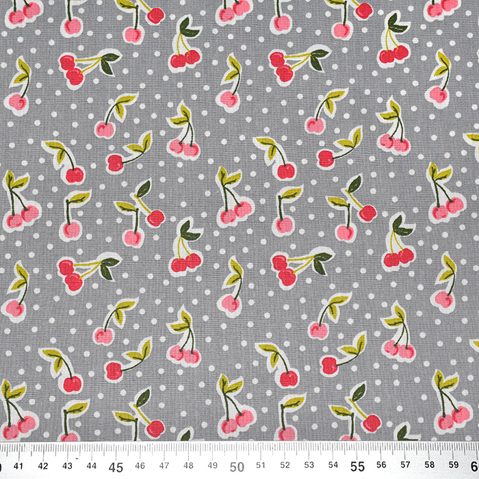 Bombaž, poplin, sadje, 22797-004, siva
