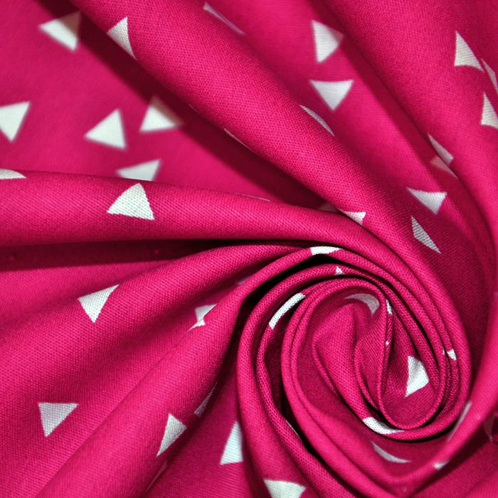 Bombaž, poplin, geometrijski, 17948-018, roza