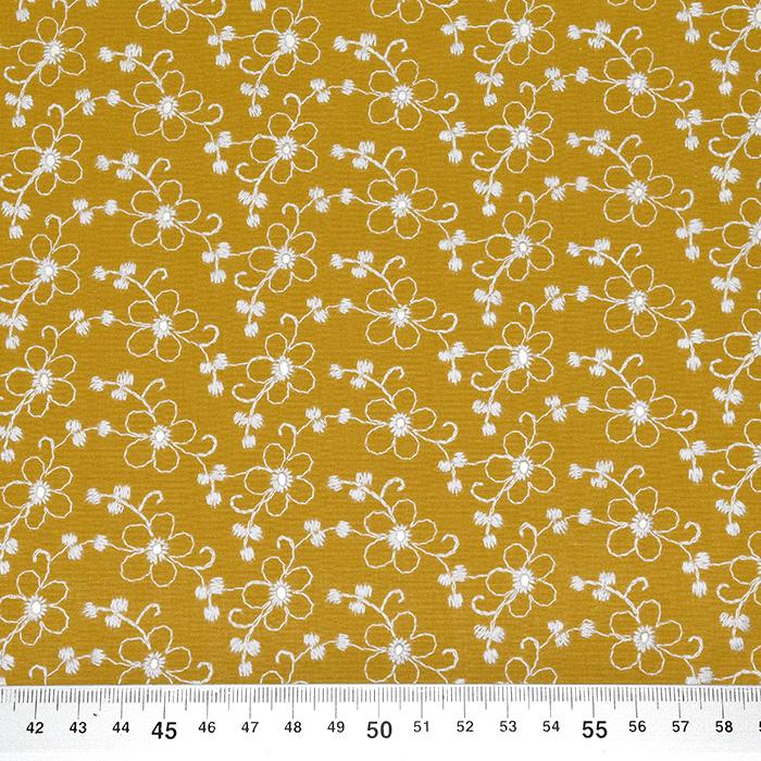 Bombaž, rišelje, cvetlični, 23407-004, oker
