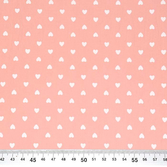 Pamuk, popelin, srca, 23416-005, ružičasta