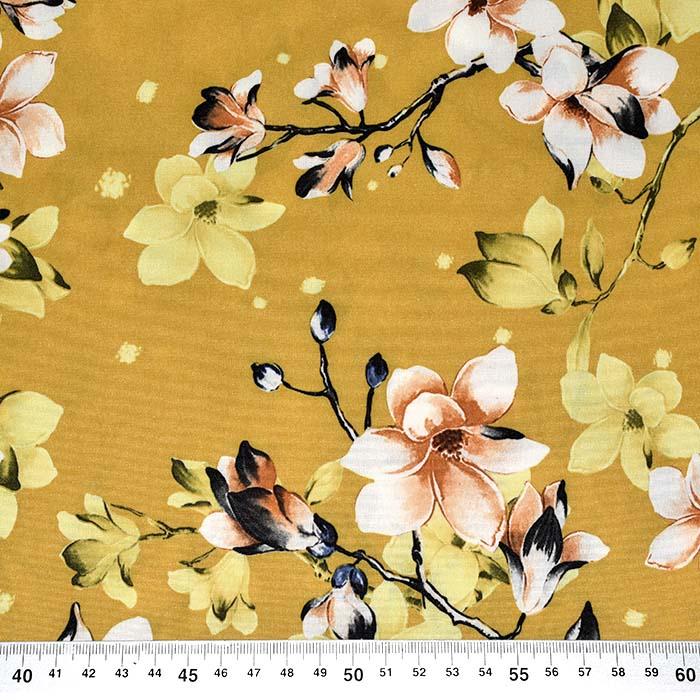 Tkanina, tanjša, cvetlični, 23425-001, oker