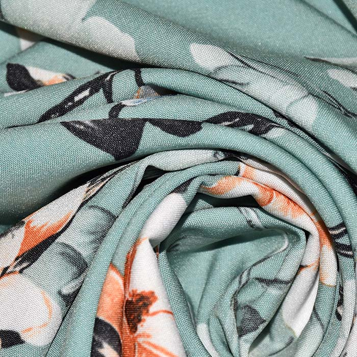 Tkanina, tanjša, cvetlični, 23425-003, mint