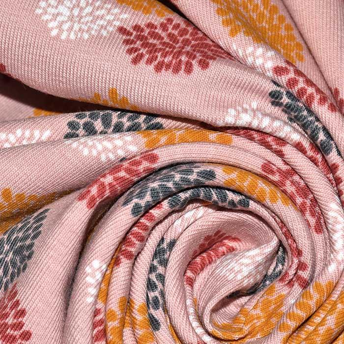 Jersey, bombaž, organski, tisk, 23516-212, roza