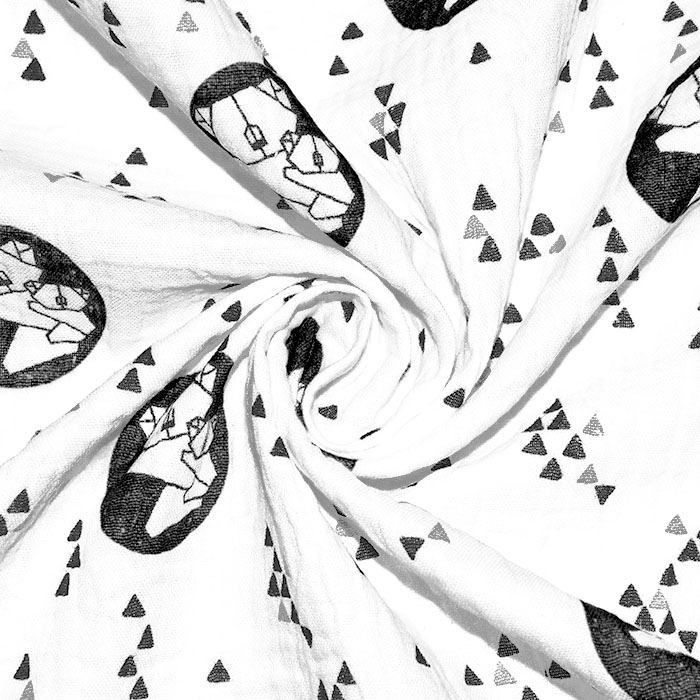 Tetra tkanina, dvojna, živalski, 23585-02, črno-bela