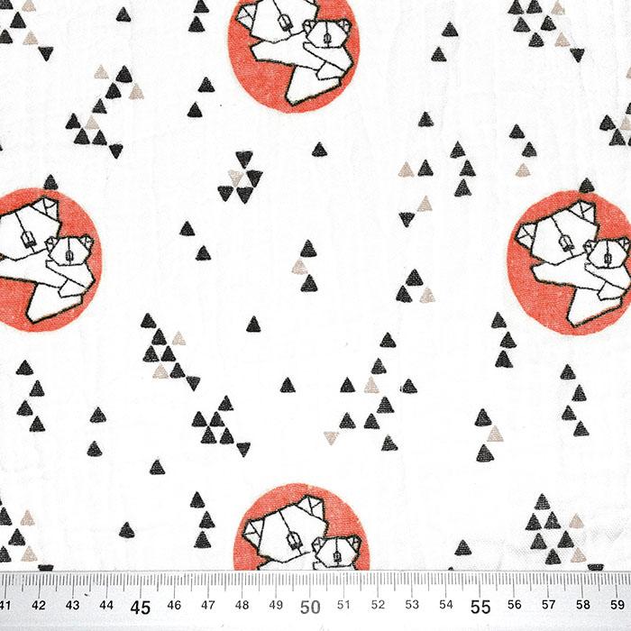 Tetra tkanina, dvojna, živalski, 23585-13, opečna