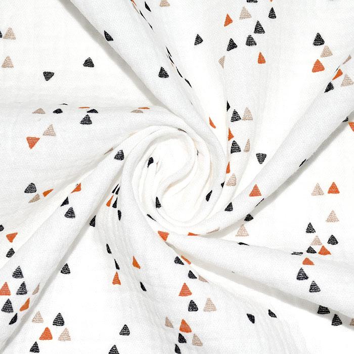 Tetra tkanina, dvojna, geometrijski, 23589-13, opečna