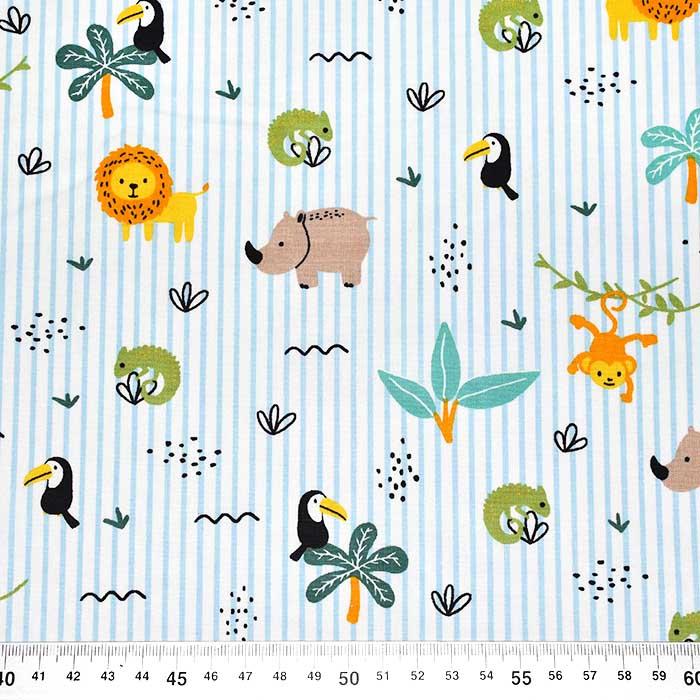 Pamuk, popelin, životinjski, 23542-001, svjetloplava