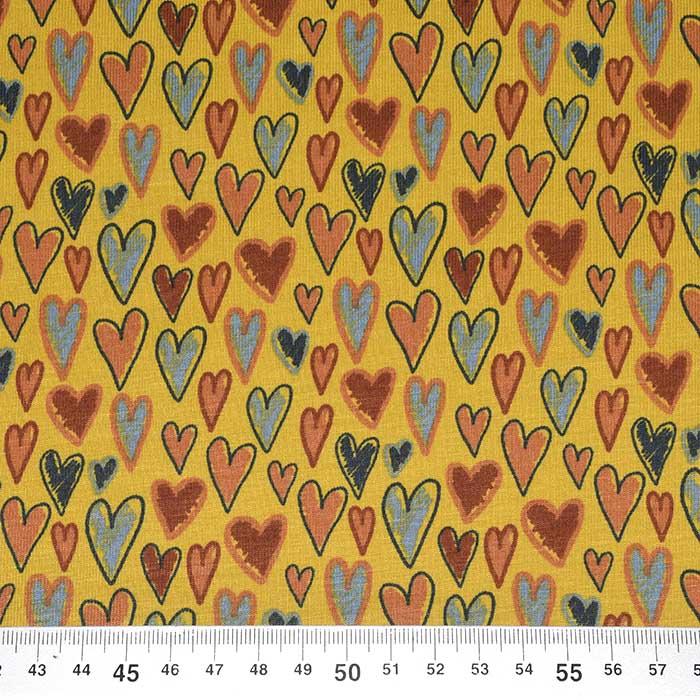 Jersey, pamuk, srca, 23655-08, oker