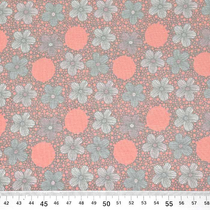 Jersey, bombaž, cvetlični, 23698-12, roza