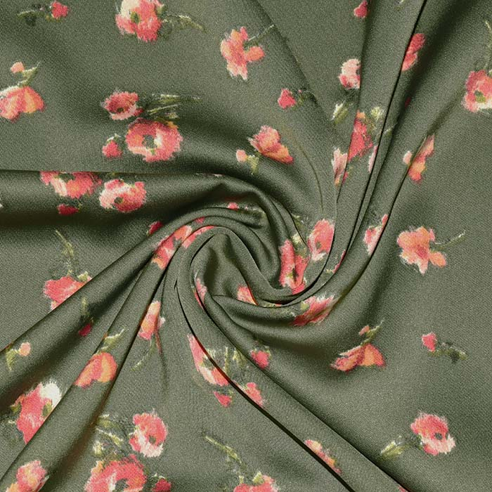 Saten, mikropoliester, cvetlični, 23706-001, zelena