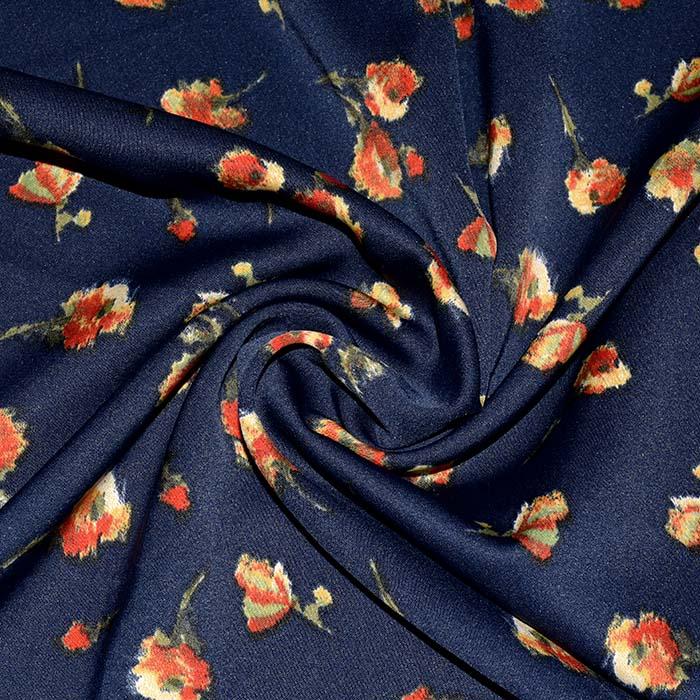 Saten, mikropoliester, cvetlični, 23706-003, temno modra