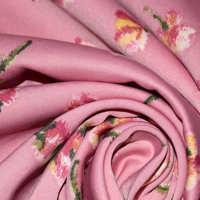 Saten, mikropoliester, cvetlični, 23706-004, roza