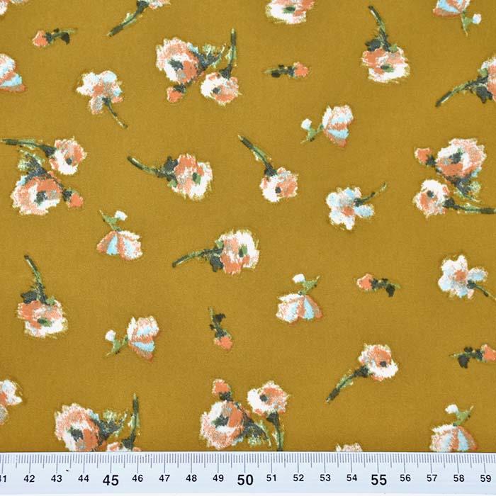 Saten, mikropoliester, cvetlični, 23706-005, oker