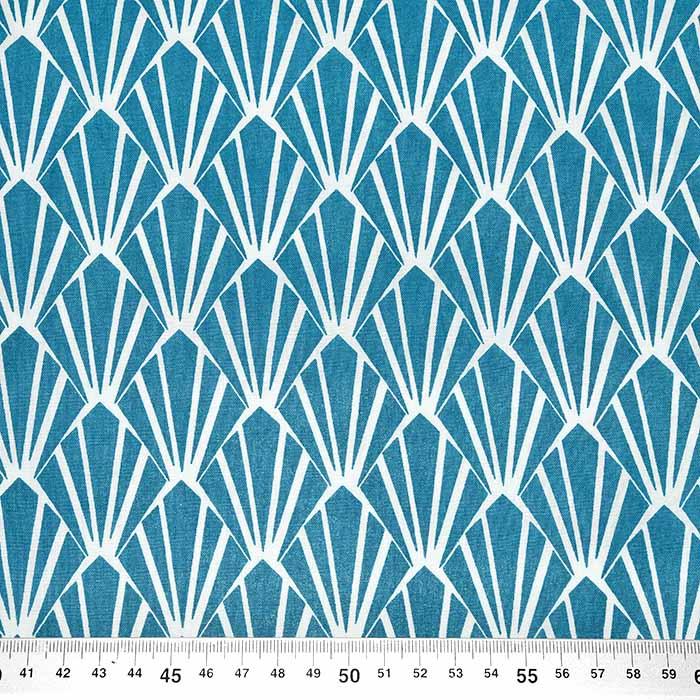 Bombaž, poplin, ornamentni, 23737-6, modra