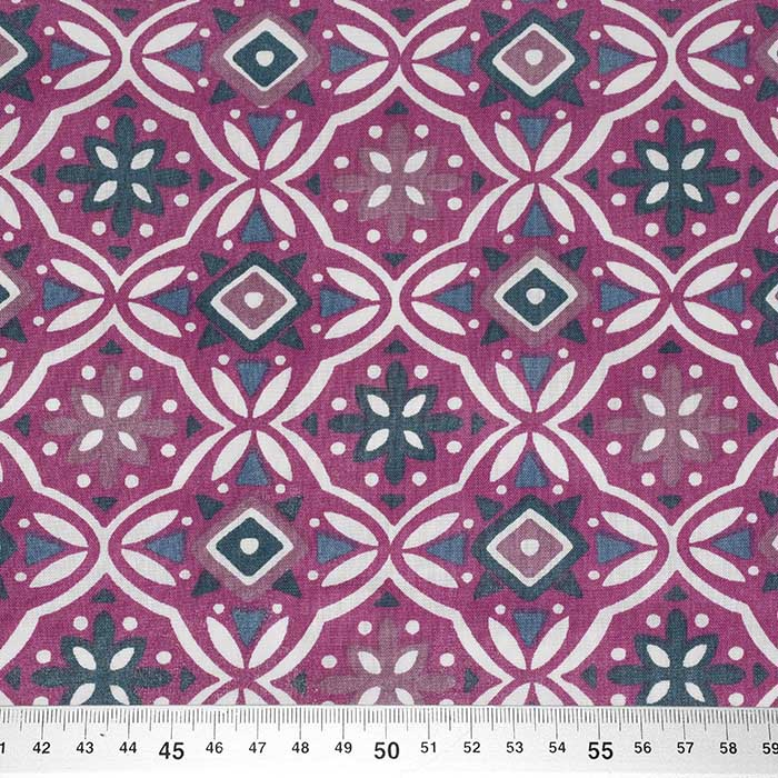 Bombaž, poplin, ornamentni, 23721-1, vijola