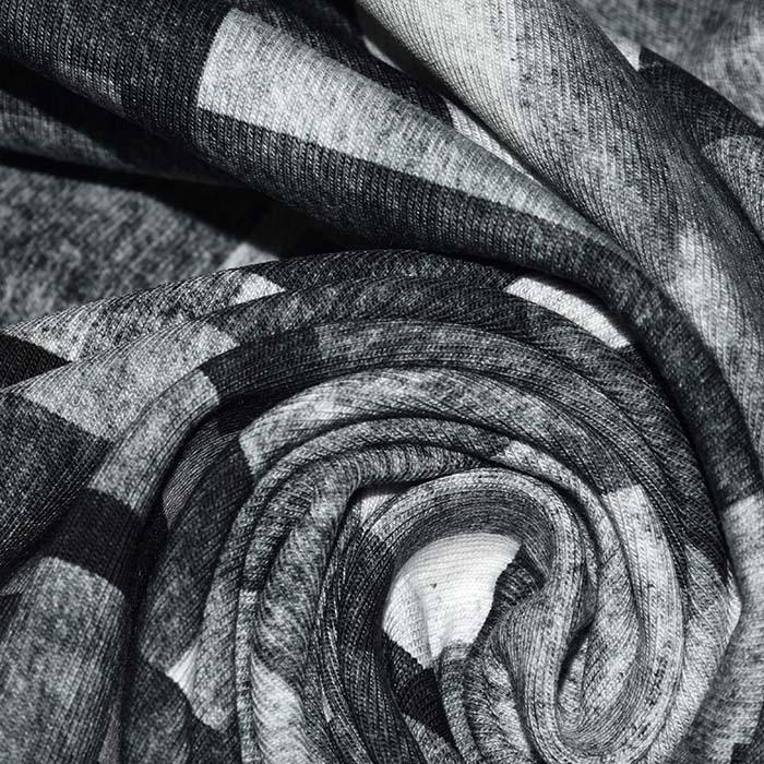 Jersey, bombaž, digital, geometrijski, 23805-15, siva