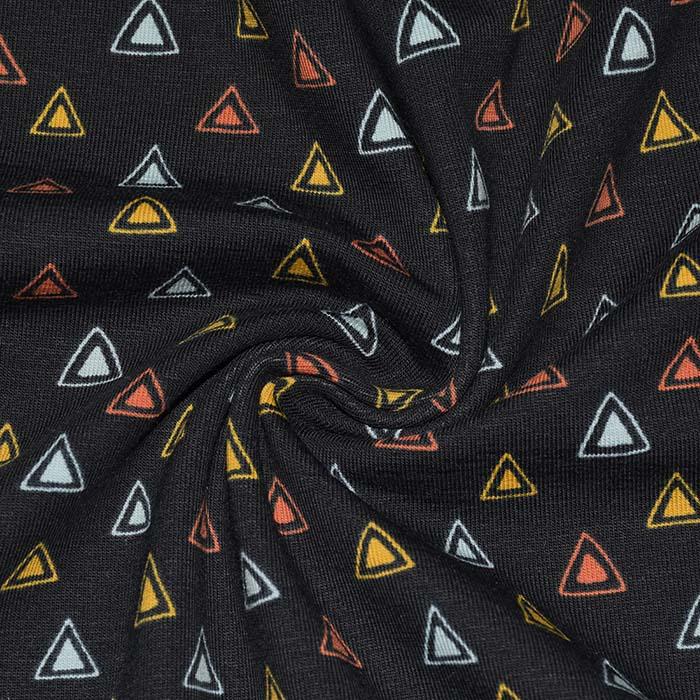 Jersey, bombaž, geometrijski, 23813-20, črna