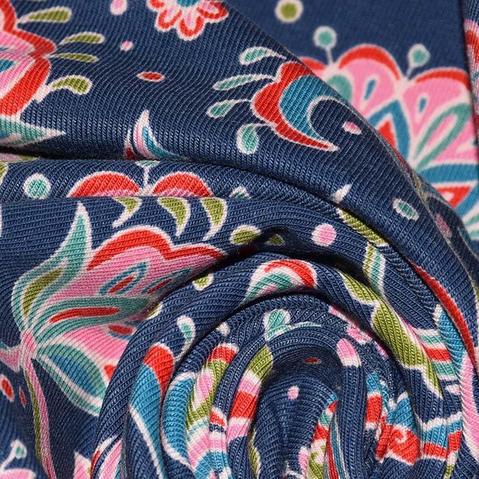 Jersey, bombaž, ornamentni, 23816-15, modra