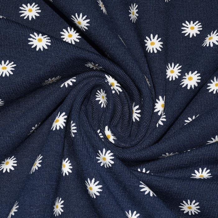 Jersey, bombaž, cvetlični, 23863-006, temno modra