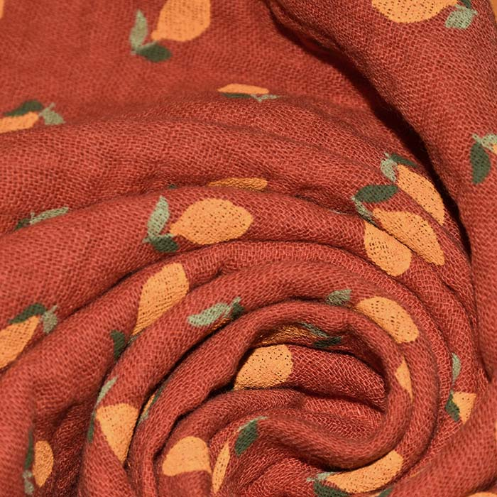 Tetra tkanina, dvojna, sadje, 23891-008, opečna