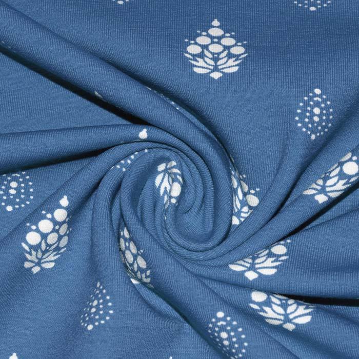 Jersey, bombaž, ornamentni, 25200-31, modra
