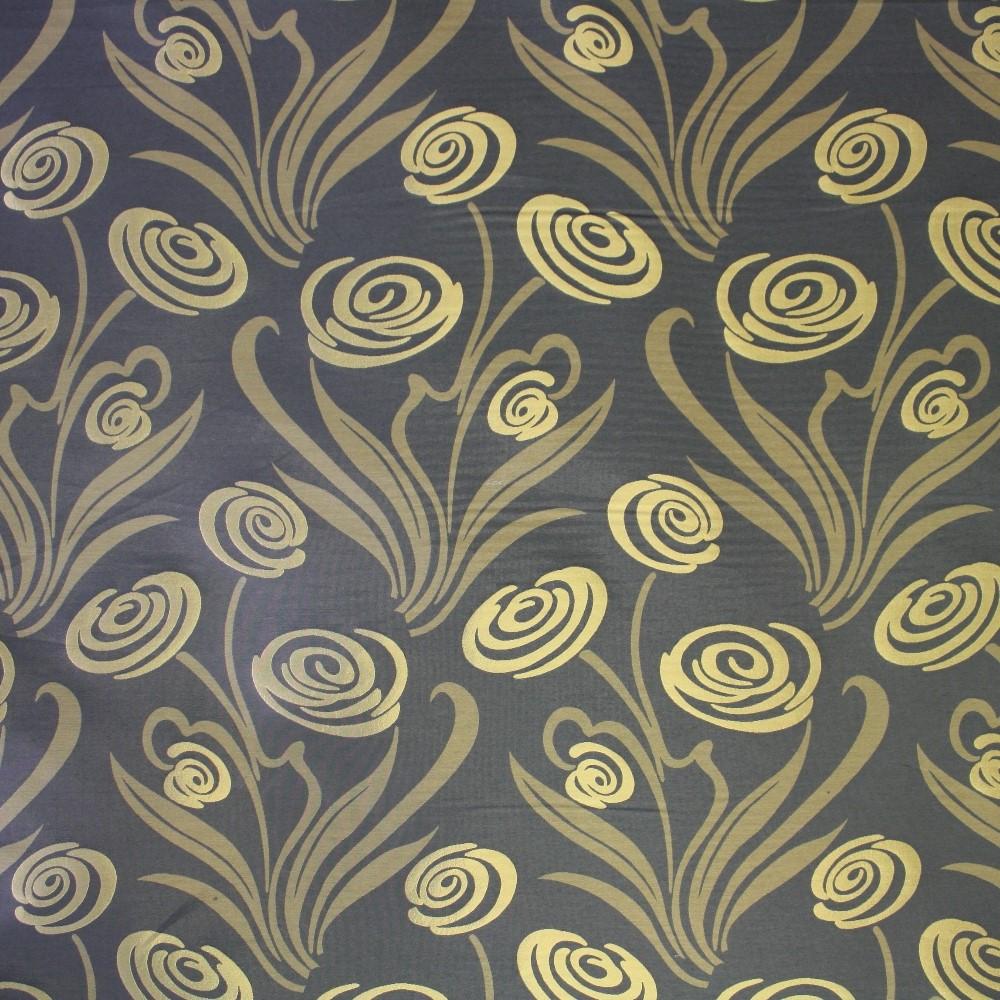 Deko žakard, stilno cvijeće sivo/zlatno, 12599-4811
