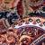 Dekostoff, Samt, Ornament, 21569-700, orange-blau - Bema Stoffe